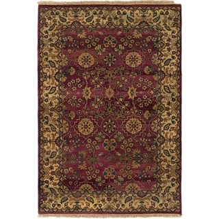 ECARPETGALLERY  Hand-knotted Jamshidpour Dark Red Wool Rug - 4'0 x 6'0