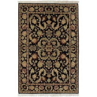 ECARPETGALLERY  Hand-knotted Sultanabad Black Wool Rug - 3'11 x 6'1
