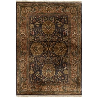 ECARPETGALLERY  Hand-knotted Sultanabad Dark Grey Wool Rug - 3'11 x 6'1