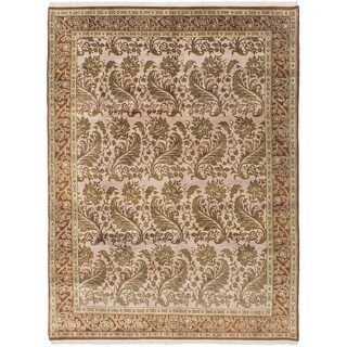 ECARPETGALLERY  Hand-knotted Royal Mahal Beige Wool Rug - 8'7 x 11'4
