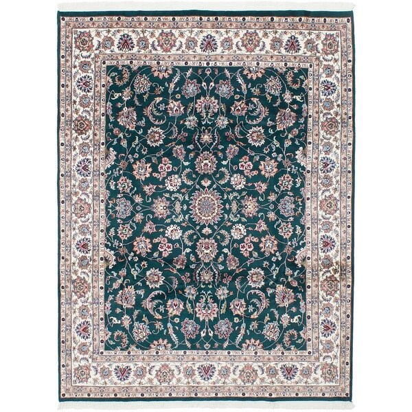 ECARPETGALLERY Hand-knotted Royal Kashan Dark Green Wool Rug - 7'8 x 10'2