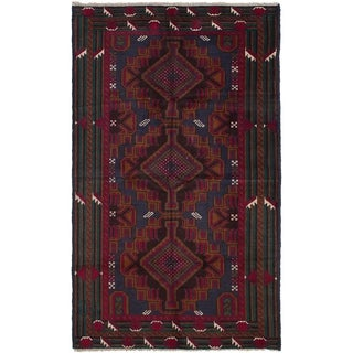ECARPETGALLERY  Hand-knotted Rizbaft Red Wool Rug - 3'8 x 6'3