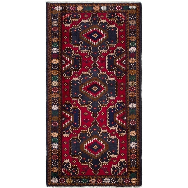 ECARPETGALLERY Hand-knotted Finest Rizbaft Red Wool Rug - 3'6 x 7'1