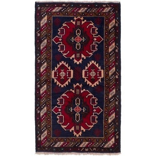 ECARPETGALLERY  Hand-knotted Rizbaft Navy Blue, Red Wool Rug - 3'5 x 6'5