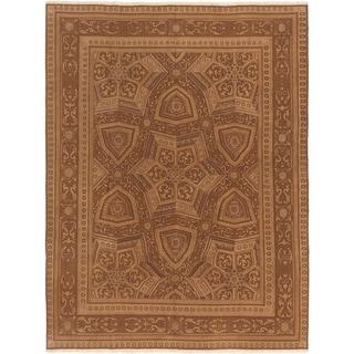 ECARPETGALLERY  Flat-weave Dynasty Dark Brown Wool Sumak - 7'7 x 9'10