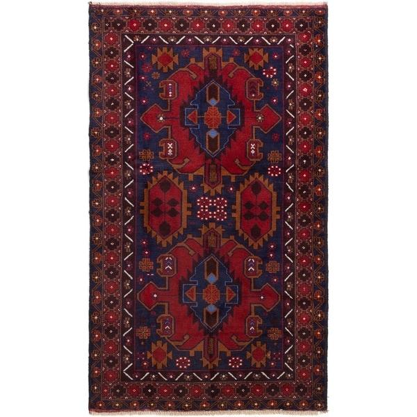 ECARPETGALLERY Hand-knotted Kazak Dark Navy, Red Wool Rug - 3'8 x 6'4