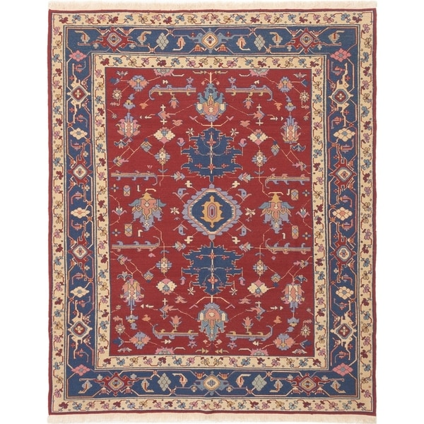 ECARPETGALLERY Flat-weave Dynasty Dark Red Wool Sumak - 8'0 x 10'0