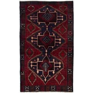 ECARPETGALLERY  Hand-knotted Kazak Red Wool Rug - 3'7 x 6'2