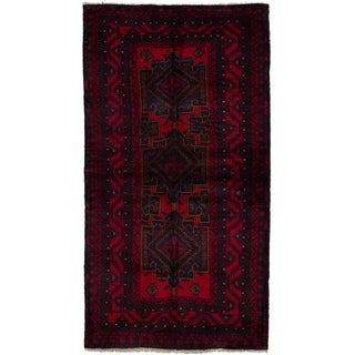 ECARPETGALLERY  Hand-knotted Finest Rizbaft Red Wool Rug - 3'9 x 7'2