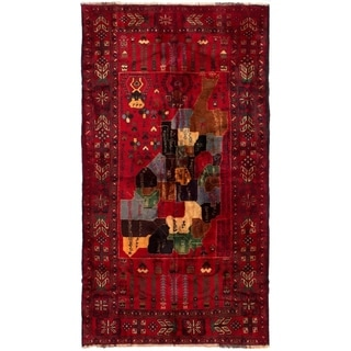ECARPETGALLERY  Hand-knotted Rizbaft Red Wool Rug - 3'10 x 7'3