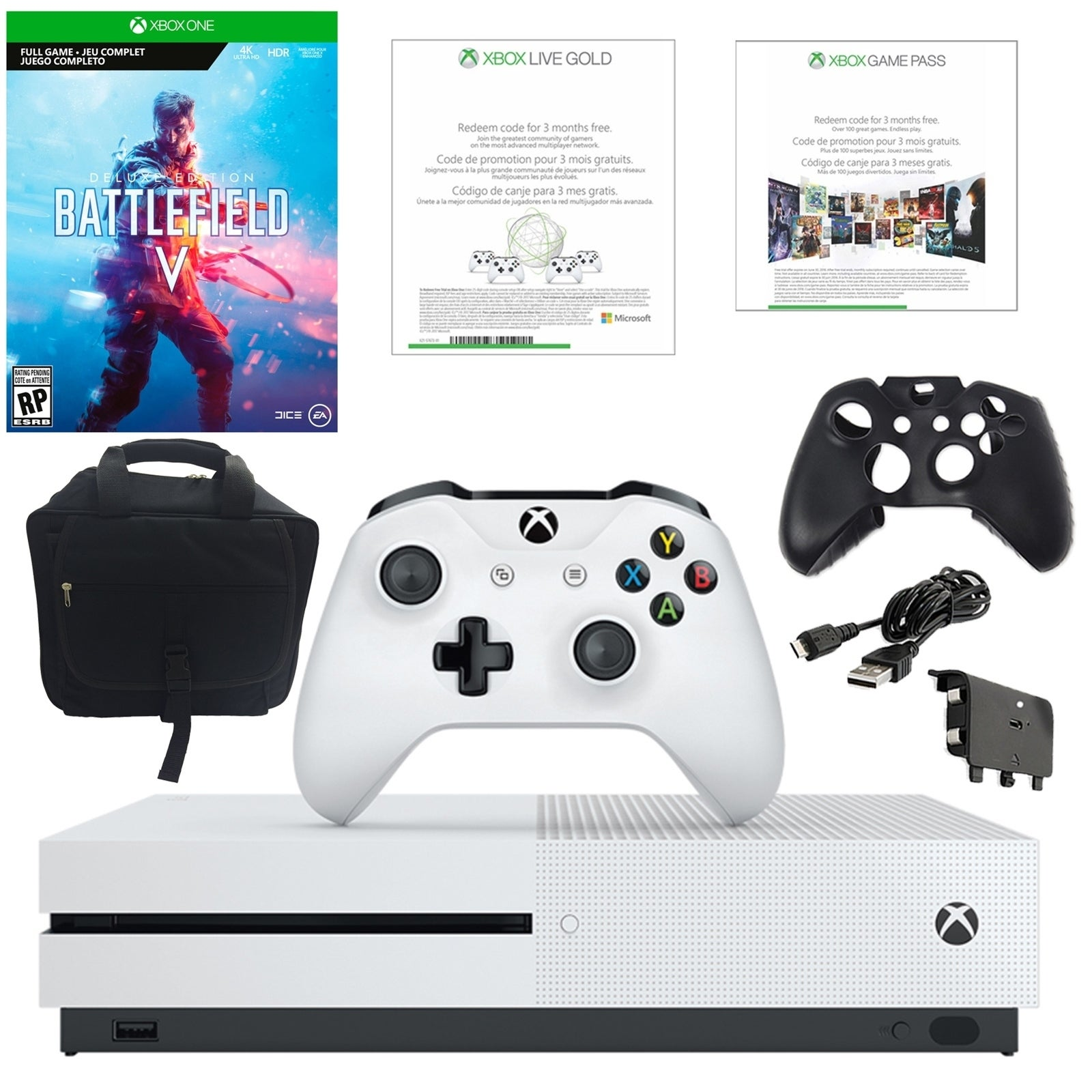 Xbox One S 1TB Battlefield V Console with Console Bag and Accessories