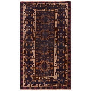 ECARPETGALLERY  Hand-knotted Finest Rizbaft Dark Brown Wool Rug - 3'6 x 6'5