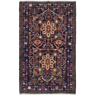 ECARPETGALLERY  Hand-knotted Finest Rizbaft Navy Blue Wool Rug - 3'10 x 6'8
