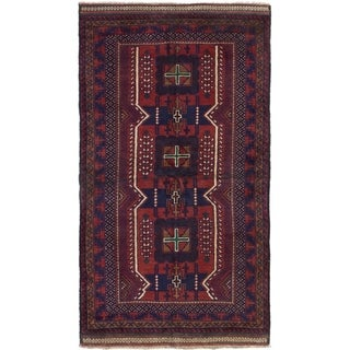 ECARPETGALLERY  Hand-knotted Rizbaft Red Wool Rug - 3'5 x 5'11