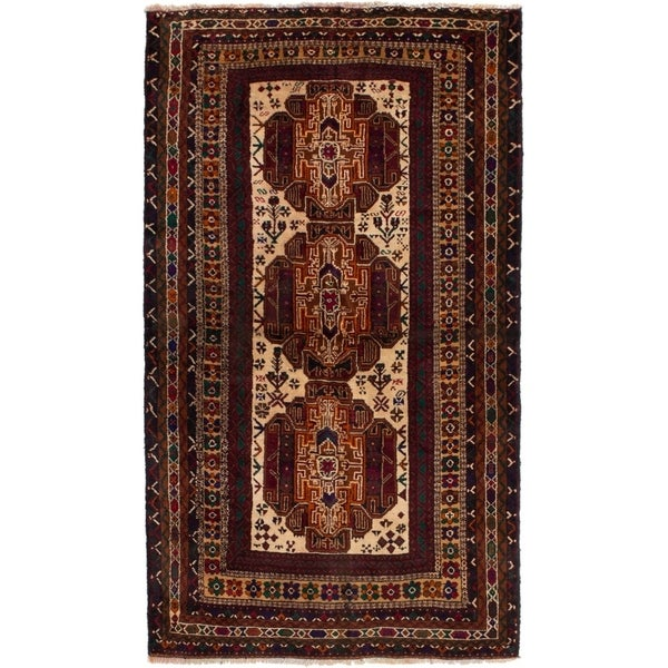 ECARPETGALLERY Hand-knotted Rizbaft Cream, Red Wool Rug - 3'7 x 6'6