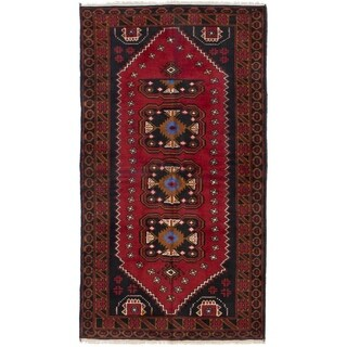 ECARPETGALLERY  Hand-knotted Rizbaft Red Wool Rug - 3'3 x 6'3
