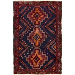 ECARPETGALLERY  Hand-knotted Kazak Dark Navy Wool Rug - 3'10 x 5'10