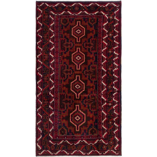 ECARPETGALLERY Hand-knotted Royal Baluch Red Wool Rug - 3'7 x 6'6