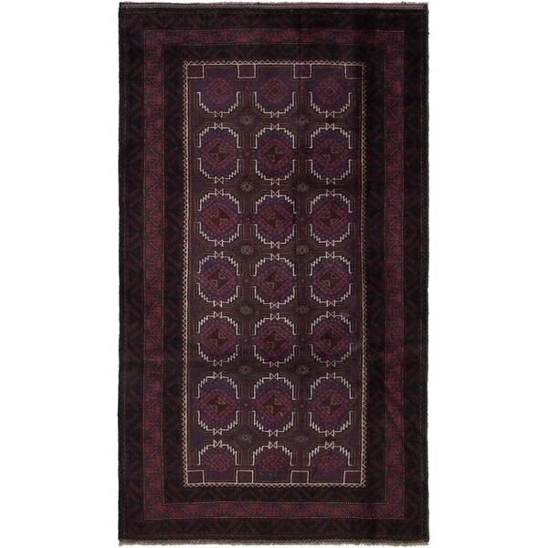 ECARPETGALLERY Hand-knotted Vintage Tribal Dark Red Wool Rug - 3'7 x 6'6