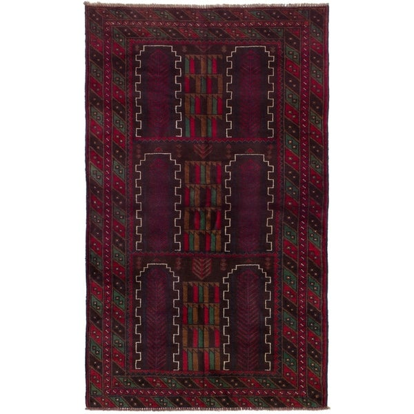 ECARPETGALLERY Hand-knotted Rizbaft Red Wool Rug - 3'11 x 5'10