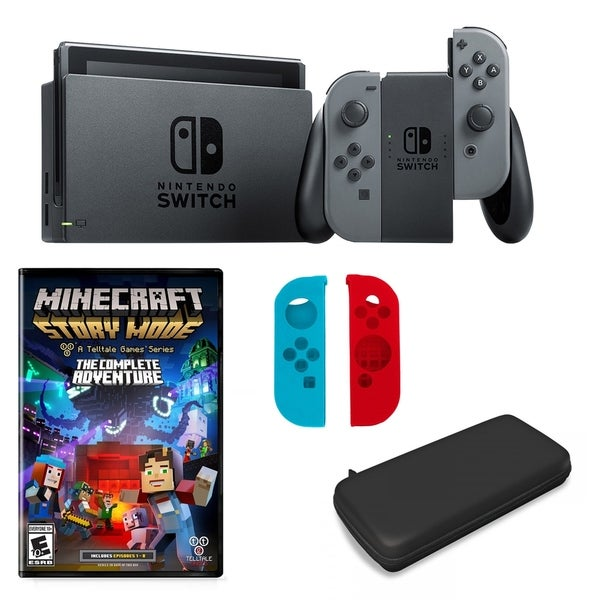 Nintendo Switch in Gray with Minecraft Adventure Game and Accessories - N/A  - N/A