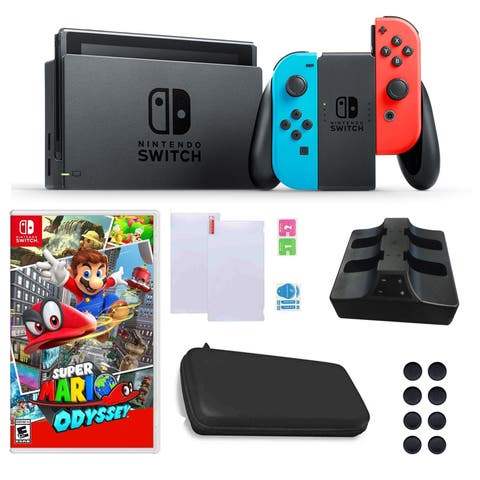 Nintendo Switch in Neon with Mario Odyssey Game and Accessories Bundle - Red and Blue - N/A