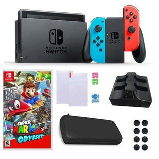 Nintendo Switch in Neon with Mario Odyssey Game and Accessories Bundle