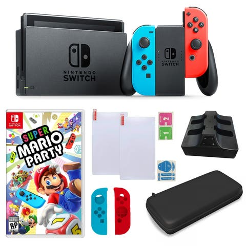 Nintendo Switch in Neon with Mario Party Game and Accessories - N/A - N/A