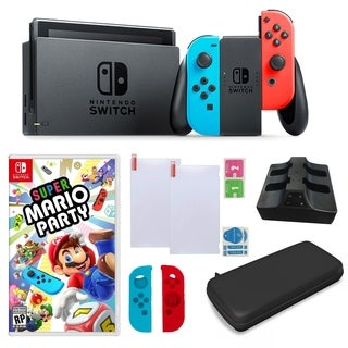 Nintendo Switch in Neon with Mario Party Game and Accessories