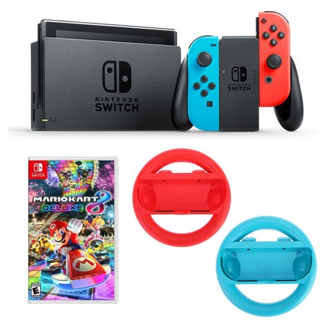 Nintendo Switch Neon Console with Mario Kart 8 Delude Edition and Steering Wheels Bundle - N/A - N/A