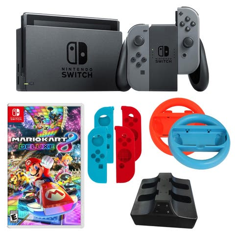 Nintendo Switch in Gray with Mario Kart Game and Accessories - N/A - N/A