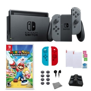 Nintendo Switch in Gray with Mario+Rabbids Kingdom and Accessories