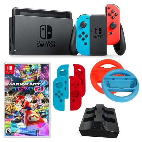 Nintendo Switch in Neon with Mario Kart Game and Accessories - N/A - N/A