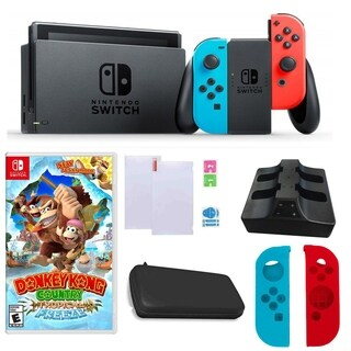 Nintendo Switch in Neon with Donkey Kong Country Game and Accessories