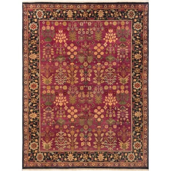 ECARPETGALLERY Hand-knotted Sultanabad Dark Magenta Wool Rug - 9'1 x 12'0