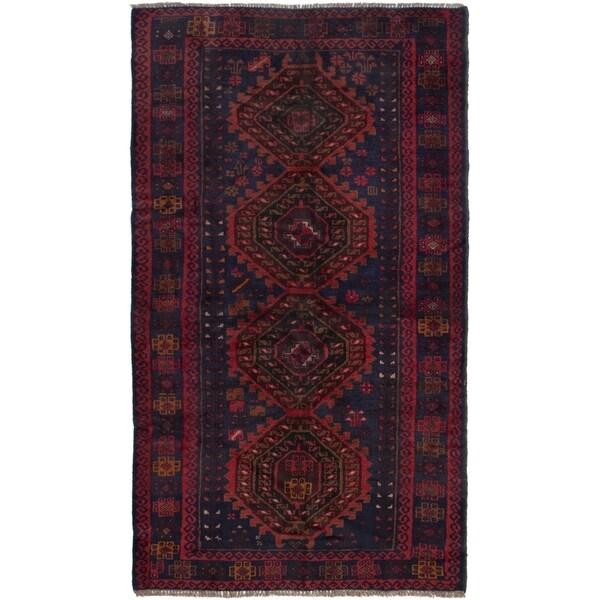 ECARPETGALLERY Hand-knotted Kazak Dark Navy, Red Wool Rug - 3'7 x 6'6