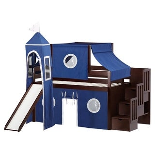 Jackpot Castle Cherry Stairway Twin Low Loft Bed with Slide and Blue & White Tent and Tower