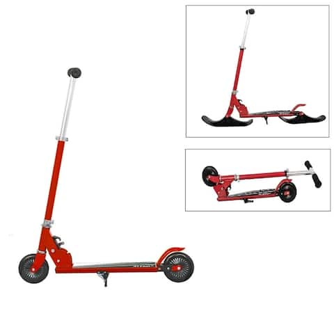 ALEKO Street Ski 2-in-1 Kids Kick Scooter with Ski Attachment Red