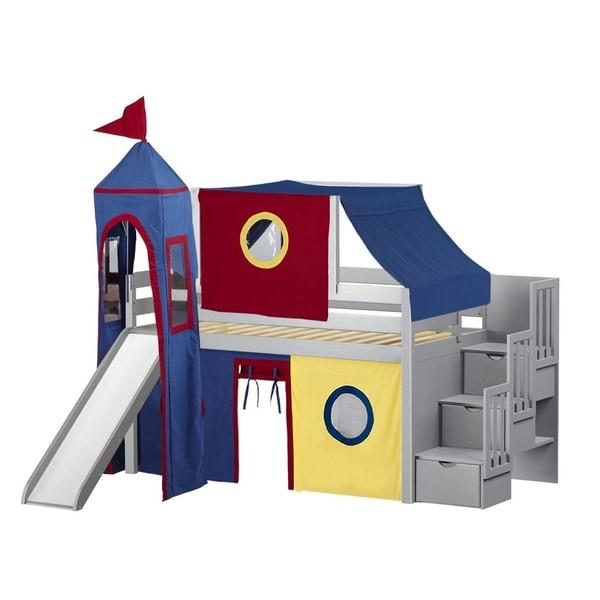 Jackpot Castle Grey, Red, and Blue Pine Twin Low-loft Stairway, Slide, Tent, and Tower Bed