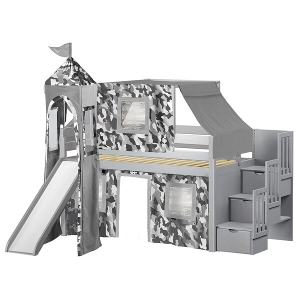 Jackpot Castle Grey Twin Low Loft Stairway Bed with Slide, Camo Tent and Tower