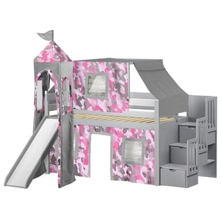 Jackpot Princess Grey and Pink Camo Pine Twin Low-loft Stairway, Slide, Tent, and Tower Bed