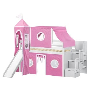 Jackpot Princess White and Pink Pine Twin Low-loft Stairway, Slide, Tent, and Tower Bed