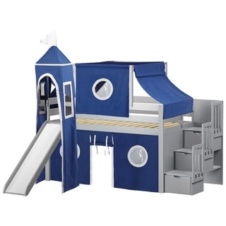 Jackpot Castle Grey Wood Twin Low Loft Stairway Bed with Slide, Blue/White Tent, Tower
