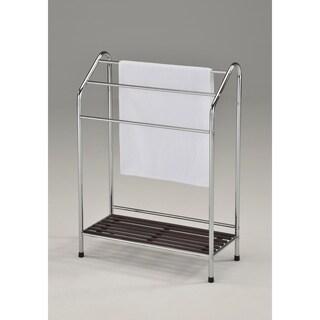 Contemporary Towel Rack-Chrome & Walnut