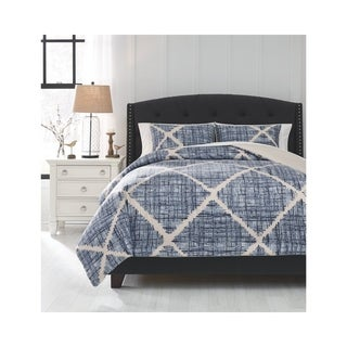 Sladen Blue/Cream King Comforter Set