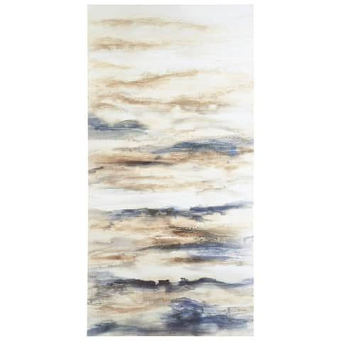 "Joely Contemporary Blue/Tan Wall Art - 30"" W x 1"" D x 60"" H"