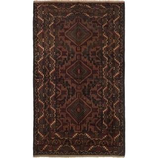 ECARPETGALLERY Hand-knotted Finest Rizbaft Dark Brown Wool Rug - 3'10 x 6'7