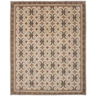 ECARPETGALLERY Hand-knotted Karma Beige Wool Rug - 8'0 x 10'0