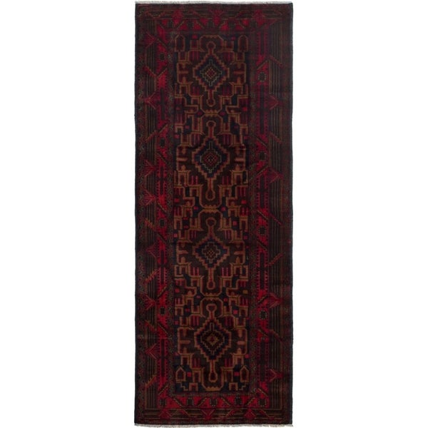 ECARPETGALLERY Hand-knotted Finest Rizbaft Red Wool Rug - 3'3 x 9'3