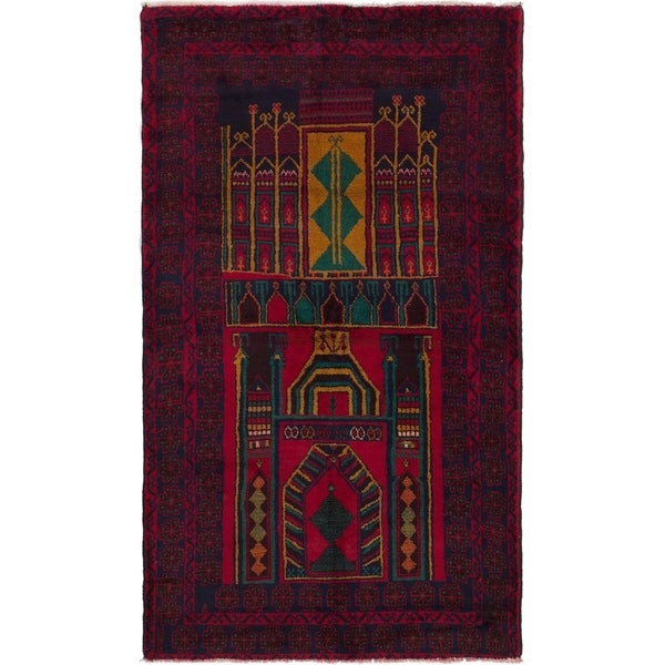 ECARPETGALLERY Hand-knotted Teimani Dark Red Wool Rug - 3'8 x 6'7